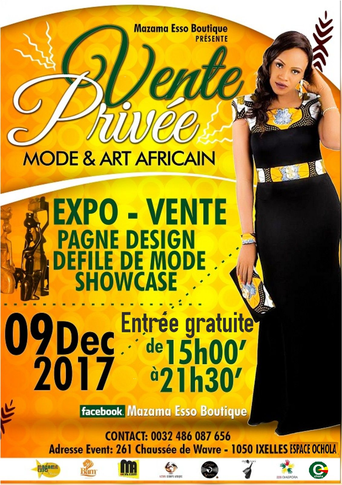 bonplan mazamaessoboutique exposition vente priv e mode et art africain le 09 12 2017. Black Bedroom Furniture Sets. Home Design Ideas